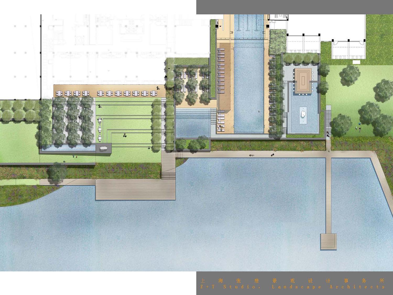 图片来源:张唐景观水乐园人工打磨模拟的凹凸地形河道用原石汀步